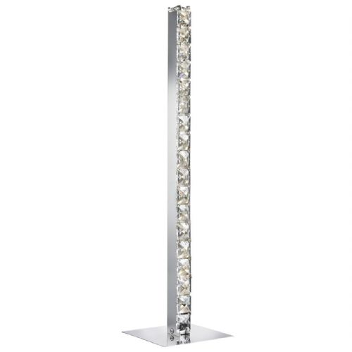 Clover Led Column Table Lamp, Chrome, Clear Crystal Trim 7023Cc (Class 2 Double Insulated)